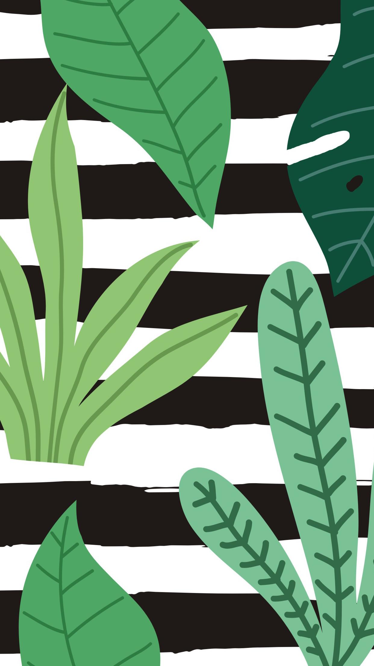 Tropical Leaves Stripes Mobile Wallpaper