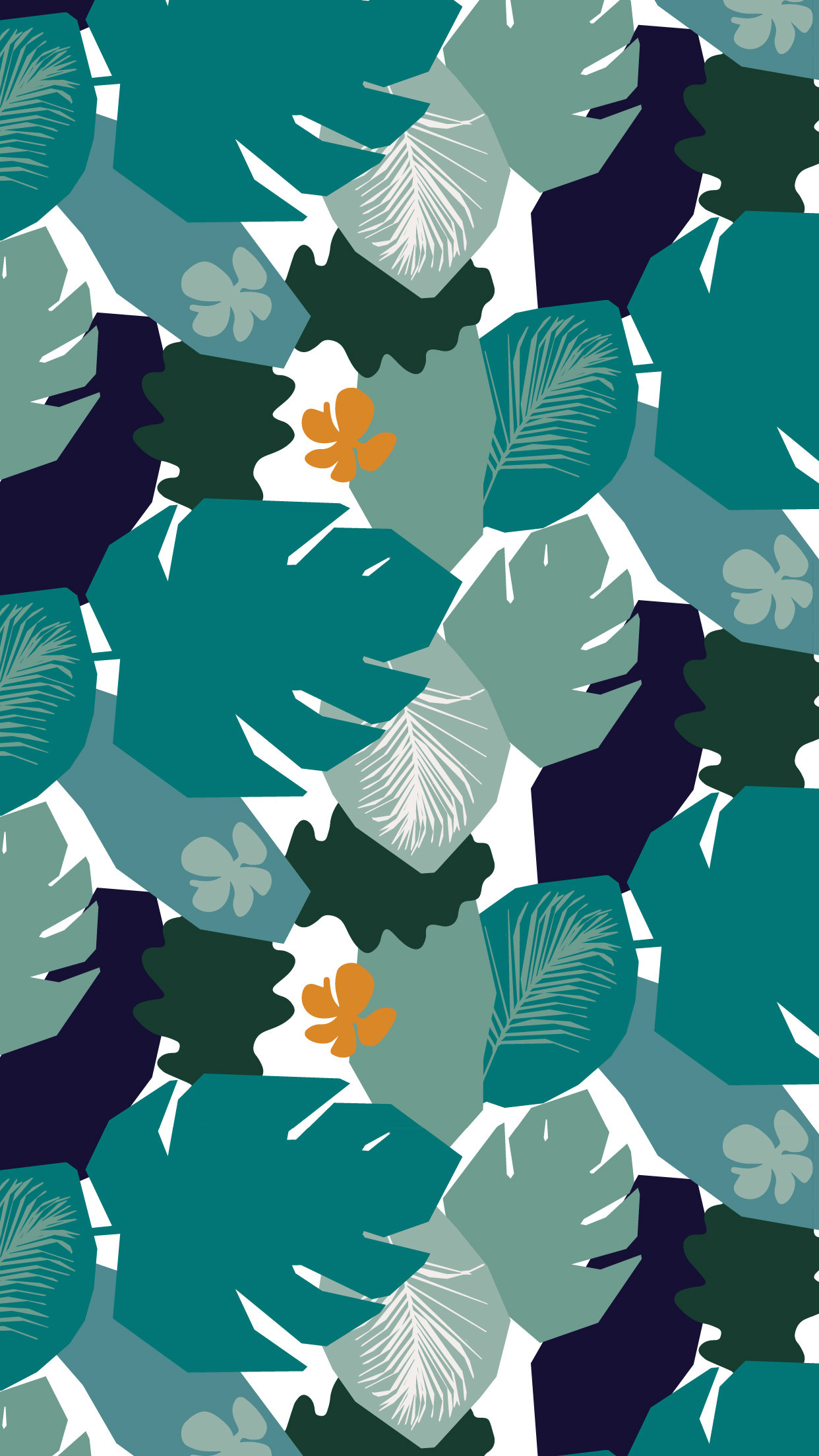 Green Tropical Leaves Mobile Wallpaper